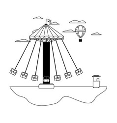 Line mechanical swing chair and air balloon with vector