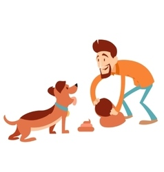 Man cleaning its dogs poop vector
