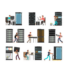man engineer technician working in server room vector image