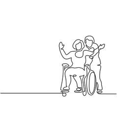 man push woman on wheelchair vector image
