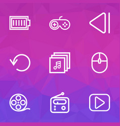 Media outline icons set collection of play vector