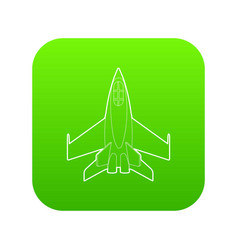 Military jet icon green vector