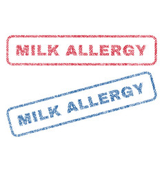 Milk allergy textile stamps vector