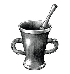 mortar and pestle vintage engraving isolated on vector image