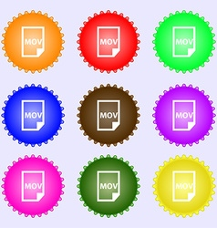 Mov file format icon sign Big set of colorful vector