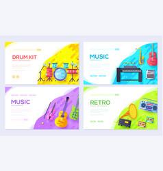 Music instruments brochure card set audio tools vector
