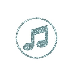Musical note icon with hand drawn lines texture vector image