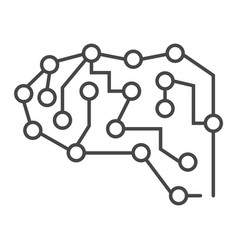 neural brain icon outline style vector image