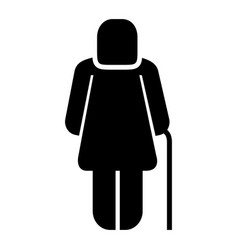 Older woman with walk cane pictogram vector