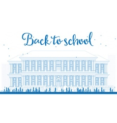 Outline Landscape with school bus school building vector image