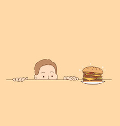 overeating nutrition hunger concept vector image