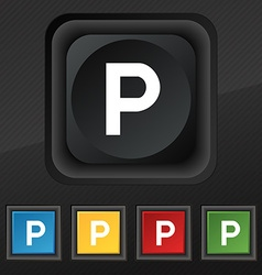 parking icon symbol Set of five colorful stylish vector image