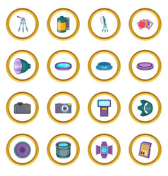 Photo studio icons circle vector