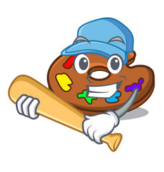 playing baseball palette character cartoon style vector image