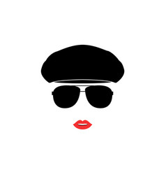 portrait of girl in ivy cap and sunglasses vector image