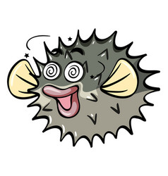 Pufferfish with dizzy face vector