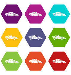 racing car icons set 9 vector image