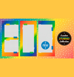 rainbow stories templates set collection vector image