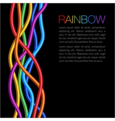 Rainbow Twisted Bright Vibrant Wares on black back vector