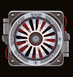Red cooling fan behind a metal grate with wires vector