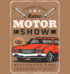 Retro cars show vintage auto motor club vector