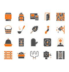 sauna equipment simple color flat icons set vector image