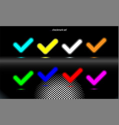 Set glowing lamp checkmark multicolored confirm vector