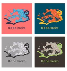 Set modern map - rio de janeiro flat vector