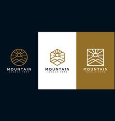 set mountain with sun light logo design vector image