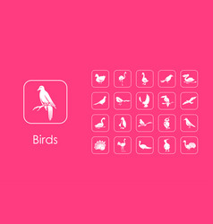 Set of birds simple icons vector