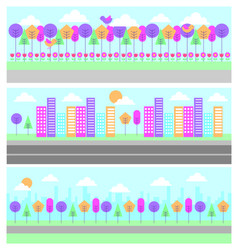 set of differents panorama scene landscape vector image