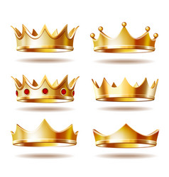 set of golden crowns for king vector image