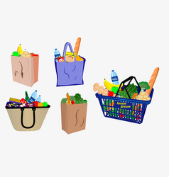 set small shopping basket or wire shopping vector image
