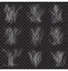 set translucent white smoke vector image