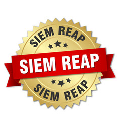 Siem reap round golden badge with red ribbon vector