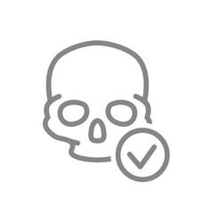 skull with tick checkmark line icon bone vector image