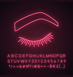 Steep arched eyebrow shape neon light icon vector