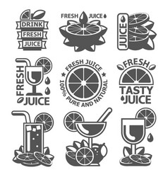 Tasty orange lemon grapefruit juice badge labels vector