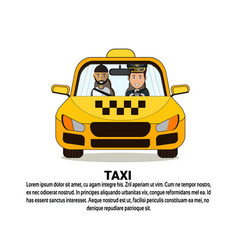 taxi service banner with driver and male passenger vector image
