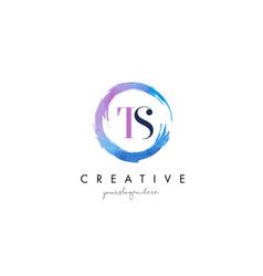 ts letter logo circular purple splash brush vector image