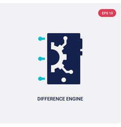 Two color difference engine icon from artificial vector