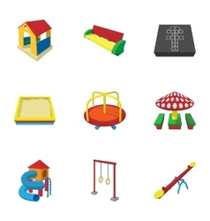 Types games in yard icons set cartoon style vector