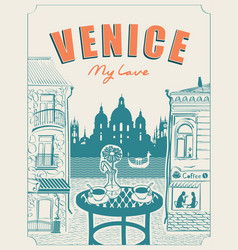 venice street cafe with view canal and gondola vector image