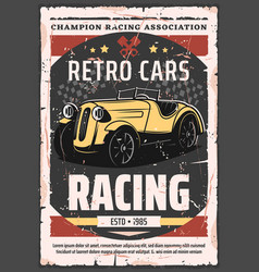 Vintage motor races championship trophy rally vector