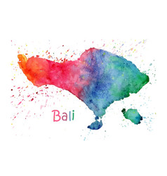 watercolor map bali stylized image with spots vector image