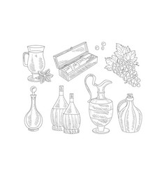 wine set hand drawn wine objects various bottles vector image