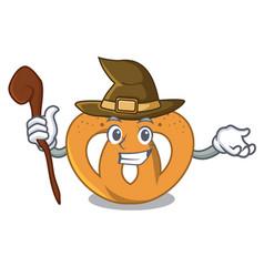 witch pretzel mascot cartoon style vector image
