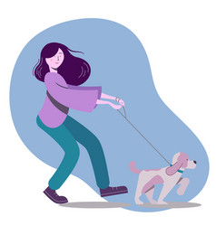 with woman walking the dog vector image