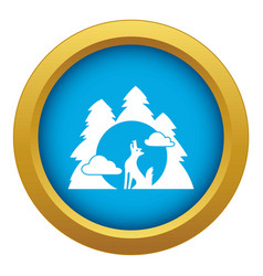 Wolf forest howl icon blue isolated vector