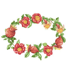 wreath in with pomegranate fruits and flowers vector image